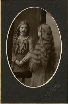 long hair Girl in Mirror antique cabinet photo from victorian age by Kingkongphoto & www.celebrity-photos.com, via Flickr
