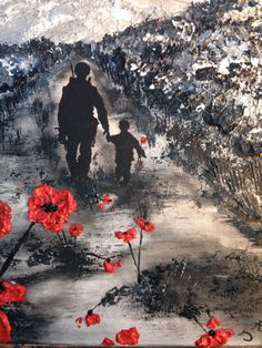 "Remembrance Day Art - They gave their tomorrows for our todays ""My Knight In Body Armour"" By Jacqueline Hurley Port Out, Starboard Home Original Art"