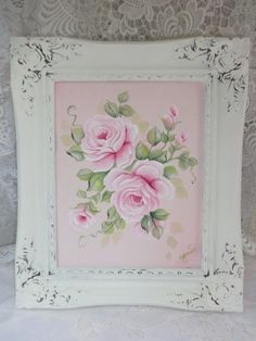 ORIGINAL SIGNED ROSE PAINTING w FRAME  ~ So shabby chic and gorgeous!  artist, d.sommers AVAILABLE ON EBAY ~