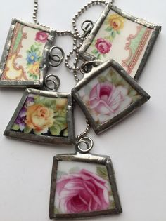 Set of 5, Broken China Necklace, Soldered Charms, Cottage Chic, Soldered Necklace, Rose China