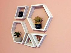 room diy simple This is an EXTREMELY easy DIY! Geometric patterns are trendy right now, and these simple shelves will definitely attract the attention of your guests. Materials Needed: -Popsicle sticks! -Paint -H Popsicle Stick Crafts For Adults, Diy Popsicle Stick Crafts, Diy With Popsicle Sticks, Craft Sticks, Pop Cycle Stick Crafts, Paint Stick Crafts, Popsicle Art, Wood Crafts, Diy And Crafts