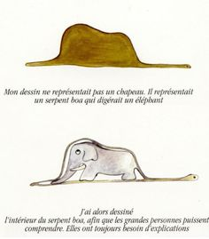 """My drawing was not a picture of a hat.  It was a picture of a boa constrictor digesting an elephant.  Then I drew the inside of the boa constrictor, so the grown-ups could understand.  They always need explanations.""  from The Little Prince  via ( piccolapaperella)"