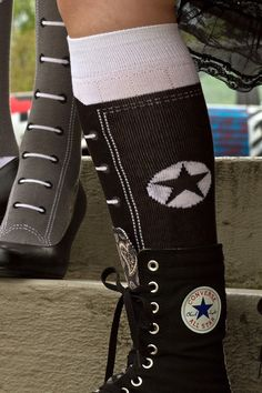 All the fun of knee-hi hi-tops, without all of the lacing! #socks #sneakers UPDATE: we regret to inform you that this style has been discontinued and is no longer available.
