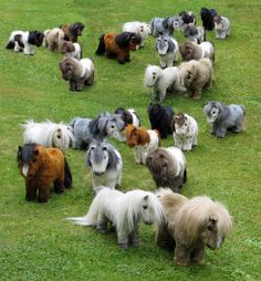 A whole herd of Shetland ponies! This was a fun project and they look good together.