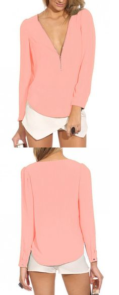 Pink Zipper Front Long Sleeve Chiffon Blouse-CHOIES