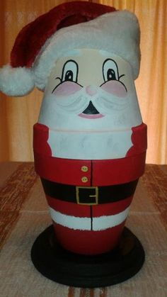 Big hand painted terra cotta pot santa clause by Crafty2just4you