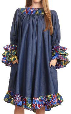 Sakkas Folami Chambray and Ankara Wax Dutch Print Muumuu Dress Relax Fit African Fashion Ankara, Latest African Fashion Dresses, African Print Fashion, Short African Dresses, African Print Dresses, African Attire, African Wear, Demin Dress, Shweshwe Dresses
