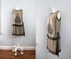 1920s dusk taupe gray & marcasite beaded dress