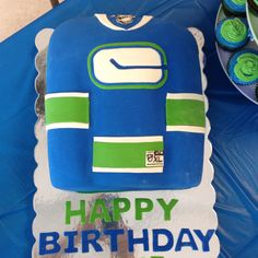 Vancouver Canucks jersey cake Hockey Cakes, Hockey Birthday, Cupcake Cakes, Cupcakes, Vancouver Canucks, Little People, Nhl, My Favorite Things, Sweet Treats