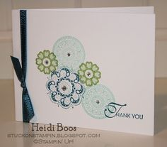 SU! Lacey and Lovely stamp set in Island Indigo, Wild Wasabi and Pool Party - Heidi Boos