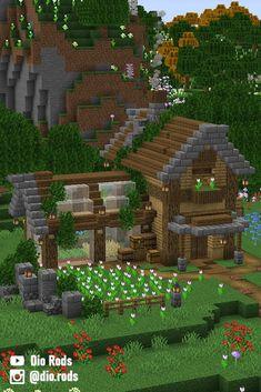Minecraft Wooden House, Minecraft Starter House, Minecraft Farm, Minecraft Houses Survival, Easy Minecraft Houses, Minecraft House Tutorials, Minecraft Plans, Minecraft House Designs, Minecraft Decorations