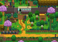 Stardew Farms, Stardew Valley Farms, Stardew Valley Layout, Stardew Valley Tips, Farm Layout, Minecraft Designs, Animal Crossing Game, Small Ponds, Bus Stop