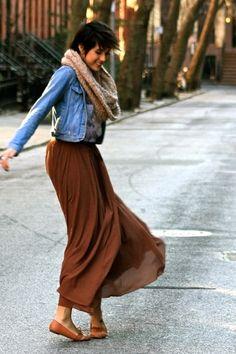 Maxi skirt and denim jacket sezzpezz