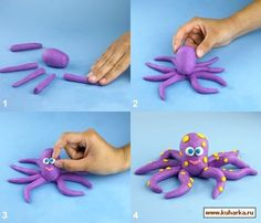 Step by step tutorial, octopus. Ideal on top of cupcakes and cakes for an under the sea themed baby shower or birthday party