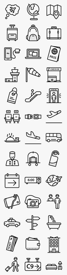 여행 아이콘 40개. AI