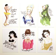 Bad Girls Throughout History Postcards - Set of 6