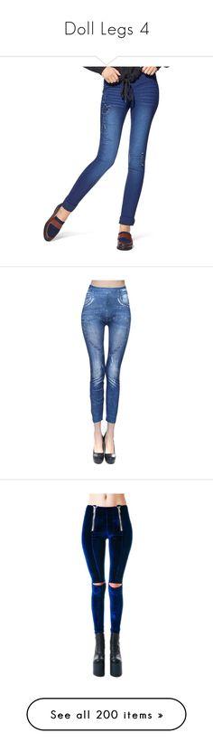 """Doll Legs 4"" by kbarkstyle ❤ liked on Polyvore featuring pants, leggings, faux denim leggings, white skinny pants, hue jeggings, pocket leggings, ripped jeggings, azure, straight leg trousers and straight leg pants"