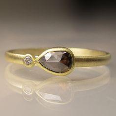 Rose Cut Chocolate Diamond Engagement Ring - 18k and 14k Yellow Gold $396.00