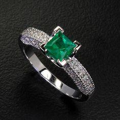 Natural EMERALD & Diamonds Engagement Wedding Lady 14K White Gold Ring WE-70 Buy It Now $1,290.00
