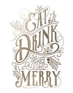 Eat, Drink, and Be Merry Foil-Stamped Wall Art by GeekInk Design | Minted