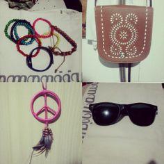 #bracelets #bag #necklace #peace #sunglasses