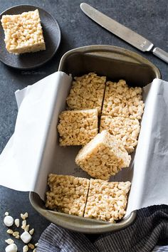 Small Batch Rice Krispie Treats - Homemade In The Kitchen - cookies and bars - Reis Rezepte Small Desserts, Köstliche Desserts, Delicious Desserts, Mug Recipes, Baking Recipes, Cookie Recipes, Popcorn Recipes, Rice Recipes, Rice Krispy Treats Recipe