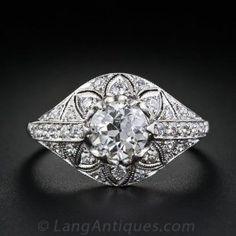 .98 Carat Diamond Edwardian Engagement Ring - Antique & Vintage Diamond Rings - Vintage Jewelry