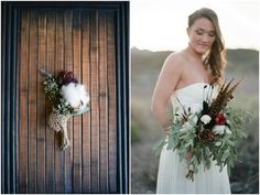 I love this unique bouquet + bout duo. Cotton + pheasant feathers. Yes!