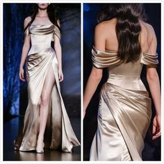 Ralph Russo Fashion Runway Chic Style Evening Dresses Champagne Silk Satin Greek Goddess Sexy Long Pleated Mermaid Prom Gowns for Sale Cheap