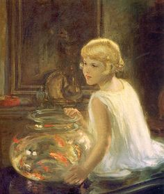 Henry Salem Hubbell. Rosemary and the Goldfish - don't know this artist - explore