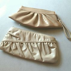2 Clutches 1# NY&Co clutch croc style in cream color. Lightly used, has a few little spots inside. 2# Clutch with ruffles, never used, missing tags. Bags Clutches & Wristlets