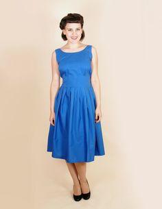 Vintage style ink blue rockabilly 50's  mad men 60's play costume bridesmaid DRESS XL. $45.00, via Etsy.