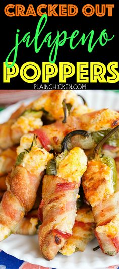 Cracked Out Jalapeño Poppers - jalapeños stuffed with cream cheese, cheddar, and Ranch and wrapped in bacon. These things are CRAZY good! Can make ahead of time and bake when ready. Tastes great warm and at room temperature. Cream Cheese Stuffed Jalapenos, Bacon Wrapped Jalapenos, Stuffed Jalapeno Peppers, Cream Cheese Jalepeno Poppers, Jalapeno Popper Recipes, Jalapeno Ideas, Smoked Jalapeno, Jalapeno Grill, Cream Of Pumpkin Soup