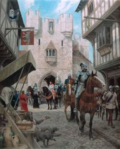 The Arrival by Graham Turner: Edward IV enters London through Bishopsgate to reclaim the throne on the April 1471 Medieval Knight, Medieval Castle, Medieval Art, Medieval Fantasy, Fantasy City, Fantasy Castle, Military Art, Military History, Eduardo Iv