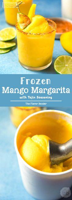 Frozen Mango Margarita -a creamy, sorbet like, fruity and refreshing frozen margarita with a spicy lime chili salt ring (Tajin Seasoning) to kick it up another notch! #MangoMargarita #FrozenMargarita #SummerCocktails via @theflavorbender