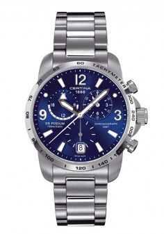 Certina Quartz Chronograph Blue Dial Stainless Steel Case With Stainless Steel Bracelet Watch #C001.639.11.047.00 (Men Watch)