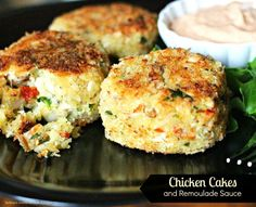 These Chicken Cakes and Remoulade Sauce are a fantastic budget friendly 30 minute meal choice. Allergic to shellfish? No worries with these crispy breaded chicken cakes. Can Chicken Recipes, Turkey Recipes, Meat Recipes, Cooking Recipes, Chicken Ideas, Cafe Recipes, Cooking Stuff, Turkey Dishes, Recipe Chicken