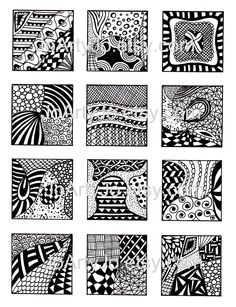 Black and White Images, Digital Collage Sheet, Abstract Zentangle Inspired Art, PDF for Scrapbooking, Jewelry Making, Pendants, Sheet 2. $3.00, via Etsy.