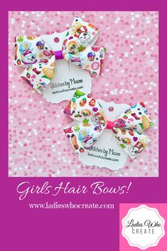 Pinwheel Bow Shopkins Hair Bows Clips Or Bobbles U Choose