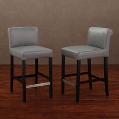 Cosmopolitan Charcoal Leather Counter Stool (Set of - Overstock Shopping - Great Deals on Bar Stools