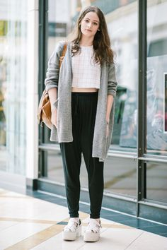 22 Insanely Cool Outfits We Found At The Mall #refinery29  http://www.refinery29.com/king-of-prussia-mall-street-style#slide1  Windowpane prints and chunky platforms make for one winning combination.