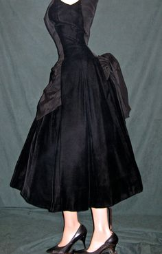 Vintage Suzy Perette Black Velvet Tail Dress Evening Gown New Look Party Mad Men Free Domestic Shipping