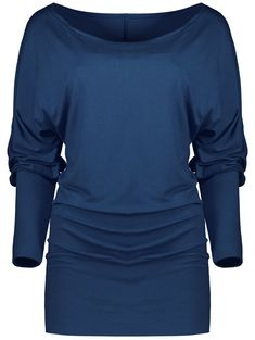 Ruched Candy Color Long Sleeve Tee in Purplish Blue | Sammydress.com