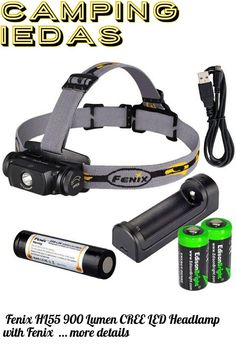 (This is an affiliate pin) Fenix HL55 900 Lumen CREE LED Headlamp with Fenix ARE-X1 battery charger, Fenix 18650 ARB-L2M rechargeable battery and two EdisonBright CR123A Lithium batteries Camping Lights, Charger, Led