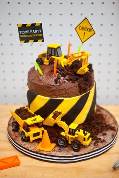 """Cute CAKE at a """"Come Dig With Me"""" Construction Themed Birthday Party via Kara's Party Ideas KarasPartyIdeas.com Cake, decor, banners, desserts, food and more! #construction #constructionparty #constructionpartyideas #boypartyideas #constructioncake"""