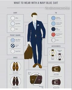 Navy blue is the most popular suit out there and it is appropriate for pretty mu. Navy blue is the Interview Outfit Men, Interview Suits, Blue Suit Men, Navy Blue Suit, Navy Suits, Mens Style Guide, Men Style Tips, Suit Fashion, Look Fashion