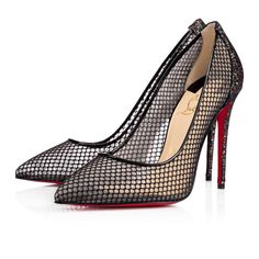 """For the party girl in you, behold """"Follies Lace.""""  Cloaked in alluring fishnet and multi-coloured glitter mesh, this feminine 100mm court shoe is all you need to become an empress of the evening."""