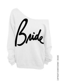 Bride Script White Slouchy Oversized Sweatshirt by DentzDesign
