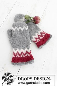 Festive Foraging - Knitted and felted mittens with Nordic pattern for Christmas in DROPS Lima. - Free pattern by DROPS Design Crochet Mittens, Mittens Pattern, Knitted Gloves, Crochet Hooks, Drops Design, Knitting Charts, Knitting Patterns Free, Free Knitting, Knitting Needles