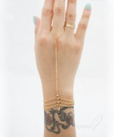 3 Triple Strand Bracelet with Golden Nuggets with Tiny Leaf, 16k Gold Plate, Slave Bracelet